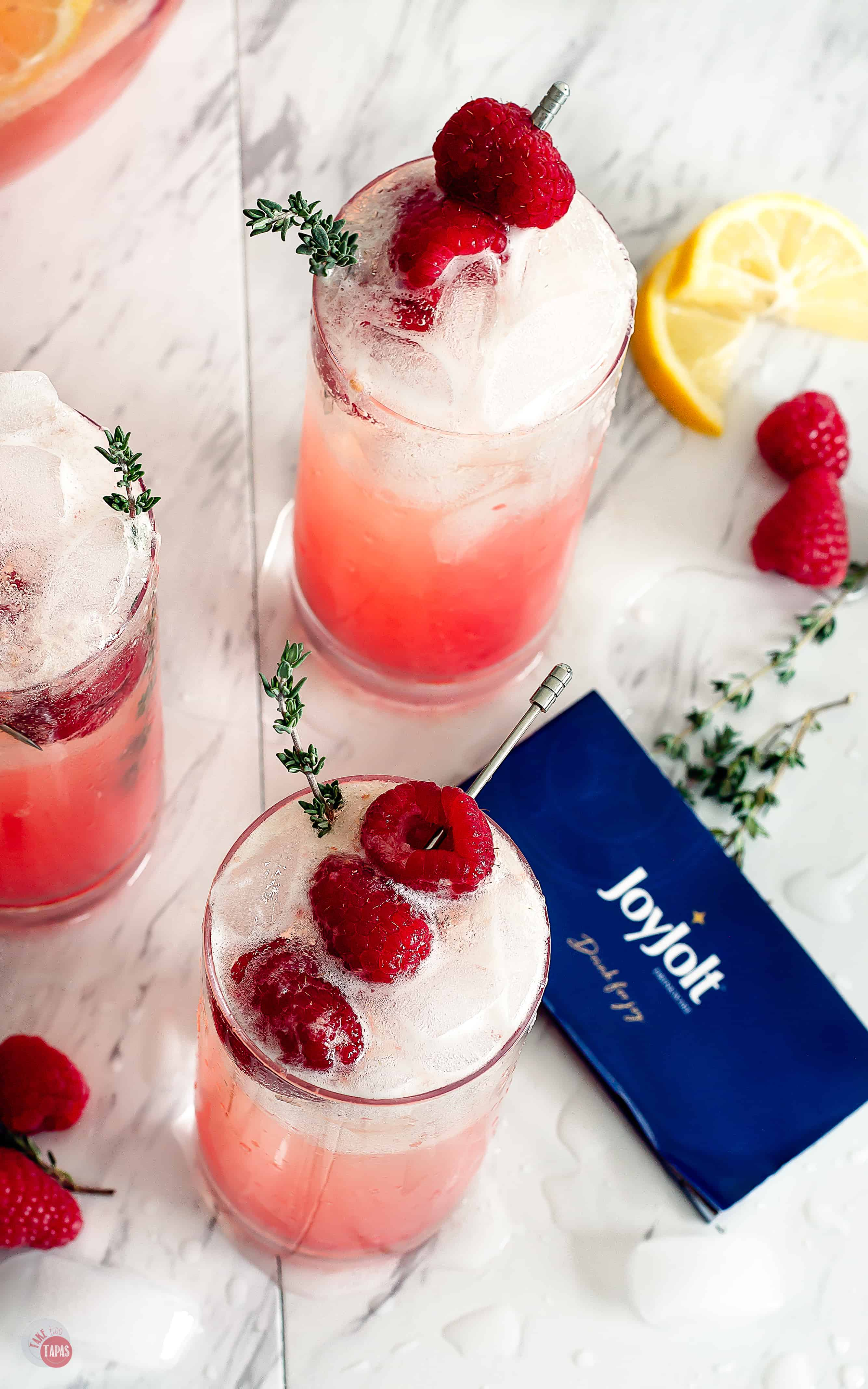 Raspberry Thyme Prosecco Punch | Take Two Tapas | #AD @JoyJolt #JoyJolt #DrinkForJoy #ChristmasSweetsWeek #PunchRecipe #ProseccoCocktail