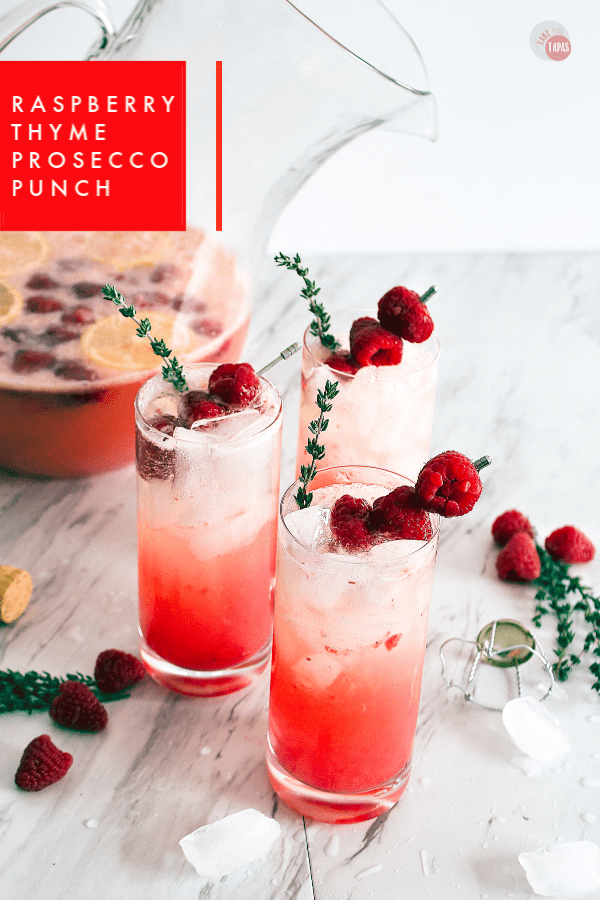 Raspberry Thyme Prosecco Punch | Take Two Tapas | #PunchRecipe #ProseccoCocktail