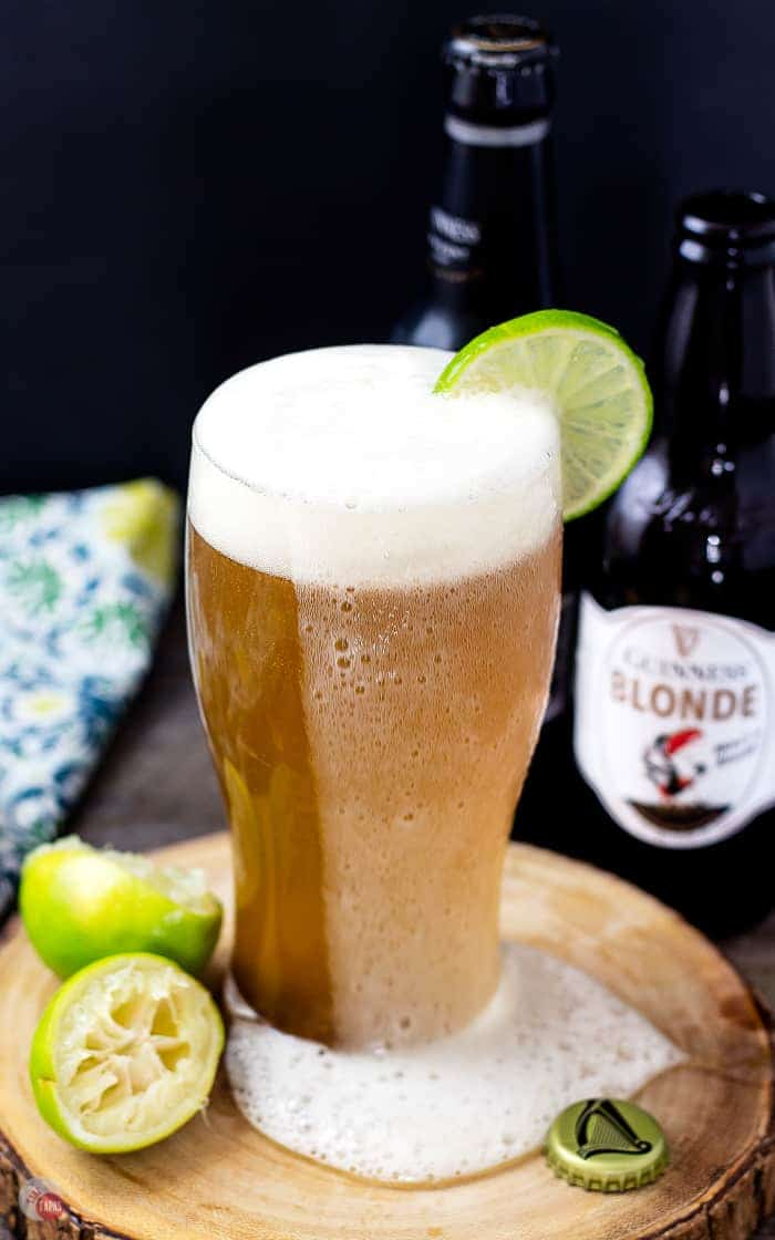 Make a simple cocktail tonight! This Beer Margarita made with Guinness Blonde will be your new favorite! | Take Two Tapas | #BeerCocktail #BeerMargarita #GuinnessBeer