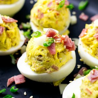 Muffuletta Deviled Eggs are perfect for Mardi Gras! | Take Two Tapas | #Muffuletta #DeviledEggs #MardiGras