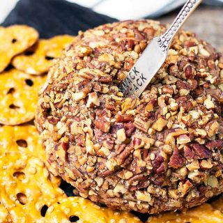 Derby Pie Cheese Ball on slate serving platter