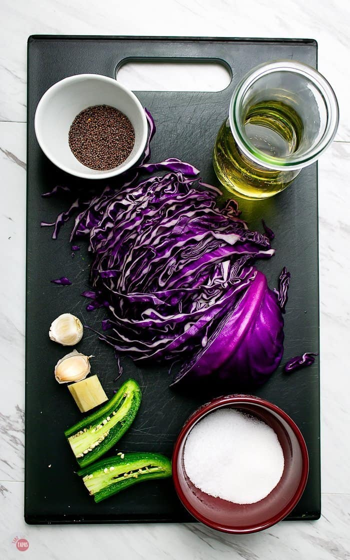 overhead picture of a few ingredients used to make pickled purple cabbage