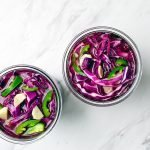 overhead shot of how to make pickled cabbage