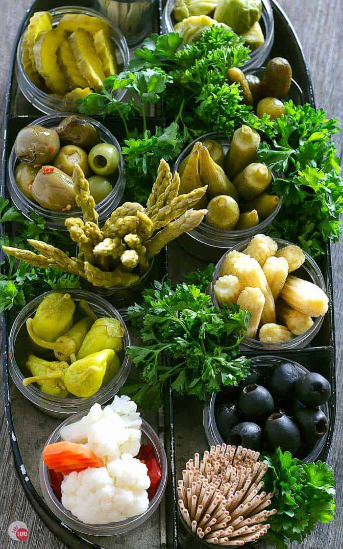 overhead view of relish tray ingredients