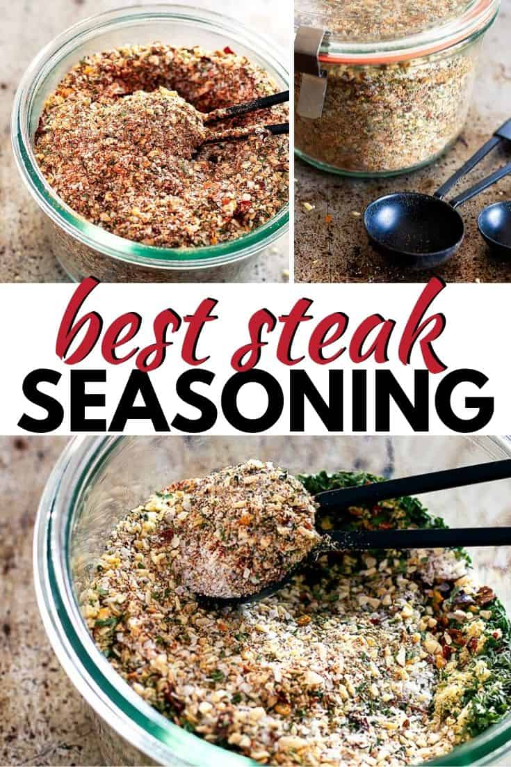 "Pinterest tri image with text ""best steak seasoning"""