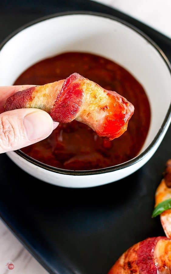 chipotle cocktail sauce is the best dip for these air fryer bacon wrapped shrimp