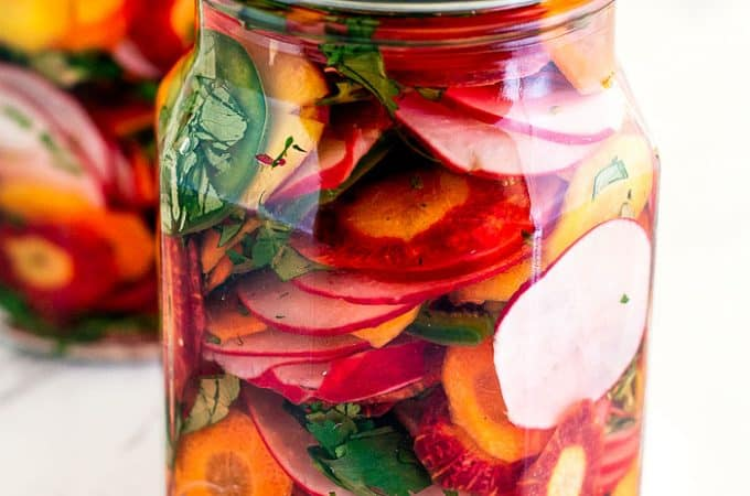 pickled carrots and jalapeño in a jar