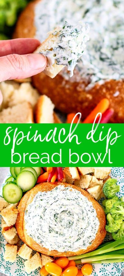 """collage of spinach dip pictures with text"""" spinach dip bread bowl"""""""