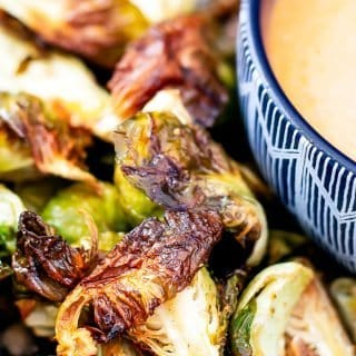 close up view of crispy air fryer Brussels sprouts