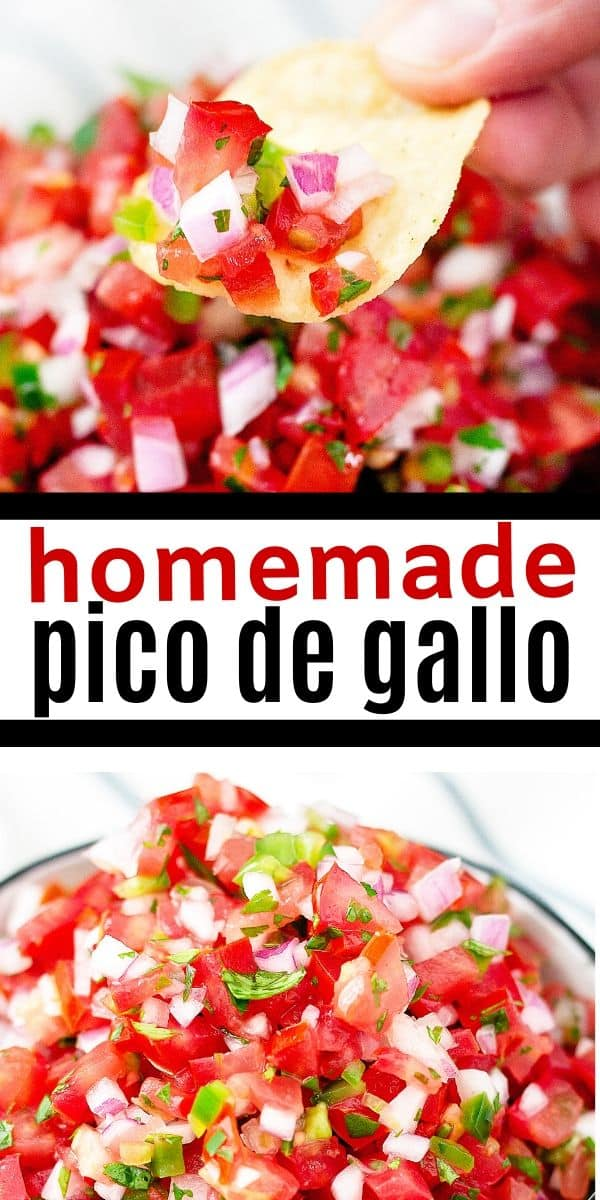 "pinterest collage with text ""homemade pico de gallo"""