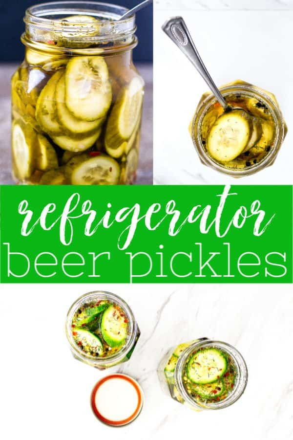 pinterest collage pin image of beer pickles