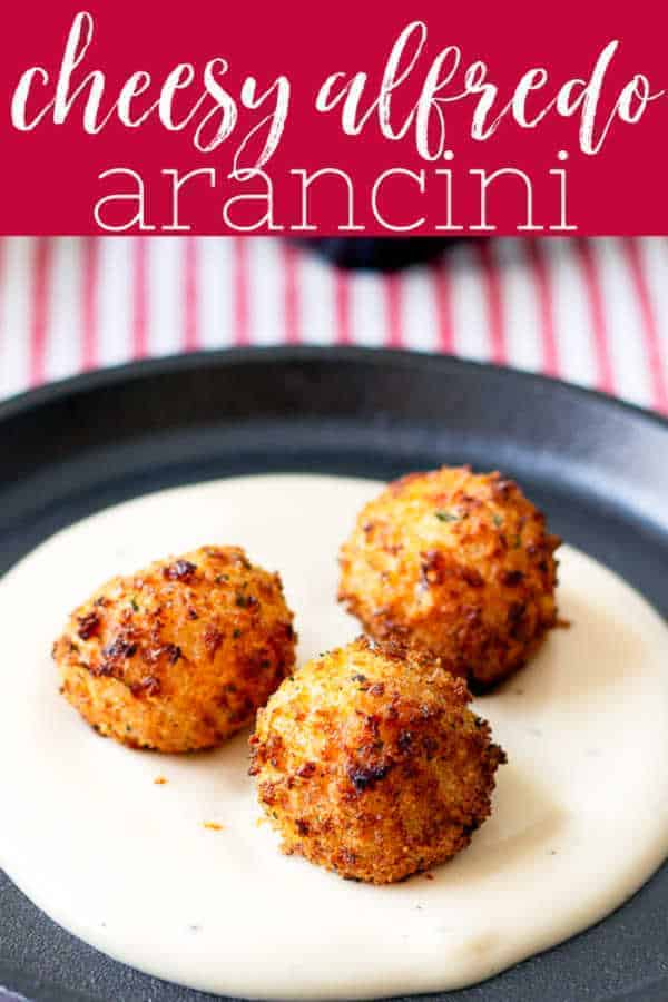 Pinterest image for cheesy alfredo arancini