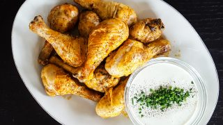 Giant Baked Hot Wings with Homemade Blue Cheese Dressing