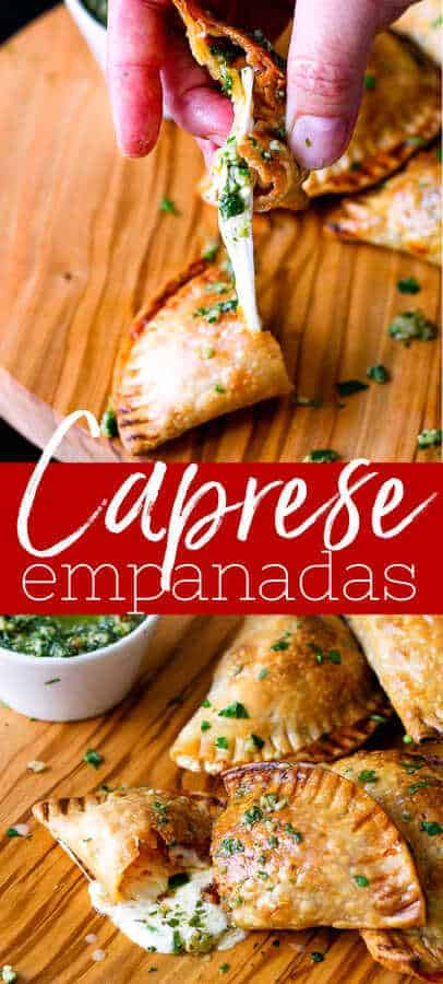 Caprese empanada pinterest pin collage picture