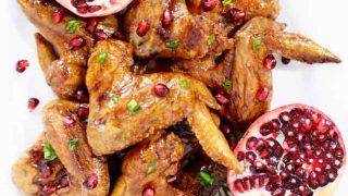 Sticky Chicken Wings with Cranberry Pomegranate Glaze
