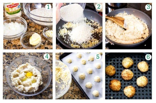 process collage of how to make arancini