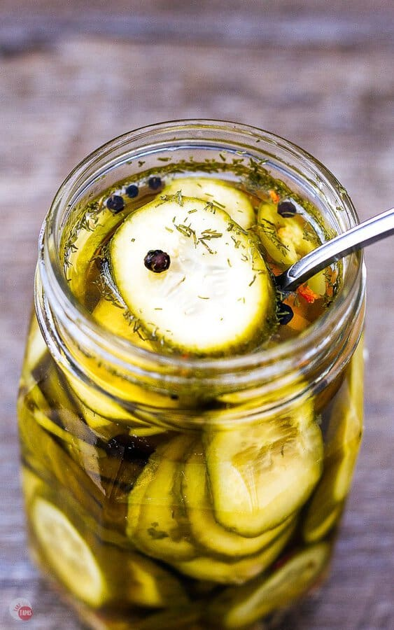 overhead picture of beer pickles in a jar