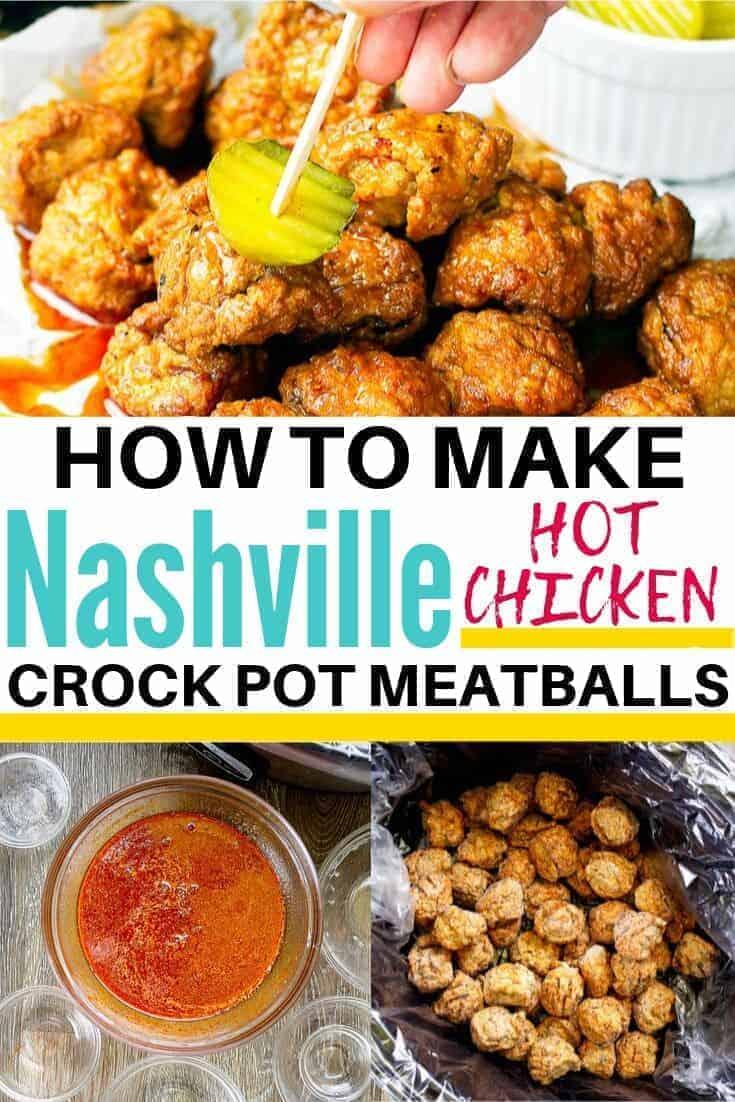 Nashville Hot Chicken Meatballs Collage