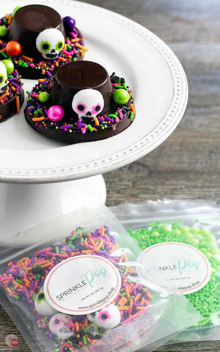 picture of day of the dead hats on a platter with sprinkles