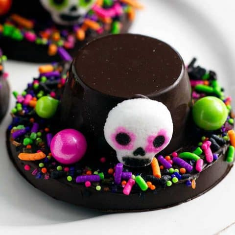 Día de Muertos Chocolate Hats on a platter