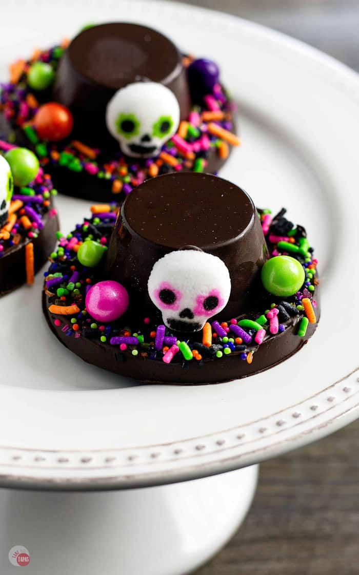picture of chocolate day of the dead hats with sugar skulls