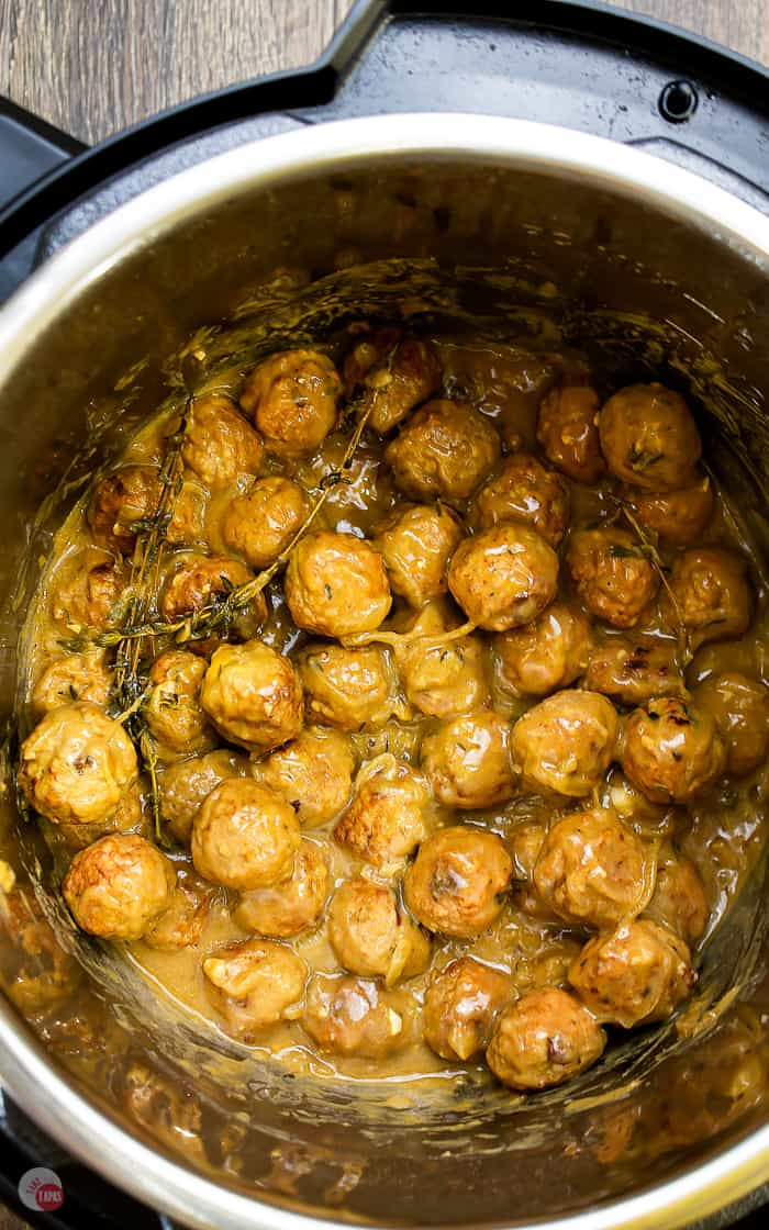 overhead picture of french onion meatballs in instant pot