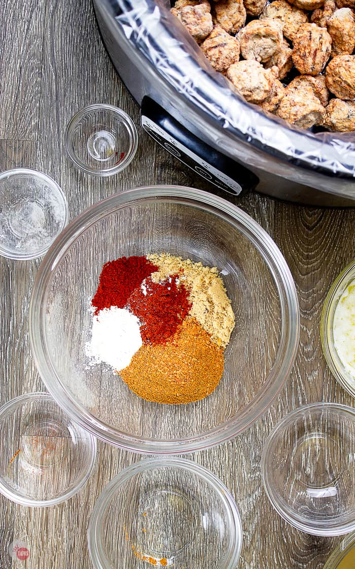 overhead picture of spice rub for chicken meatballs