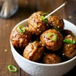 close up of cooked pineapple ginger meatballs