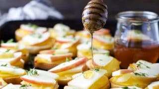 Smoked Gouda & Apple Crostini drizzled with Honey