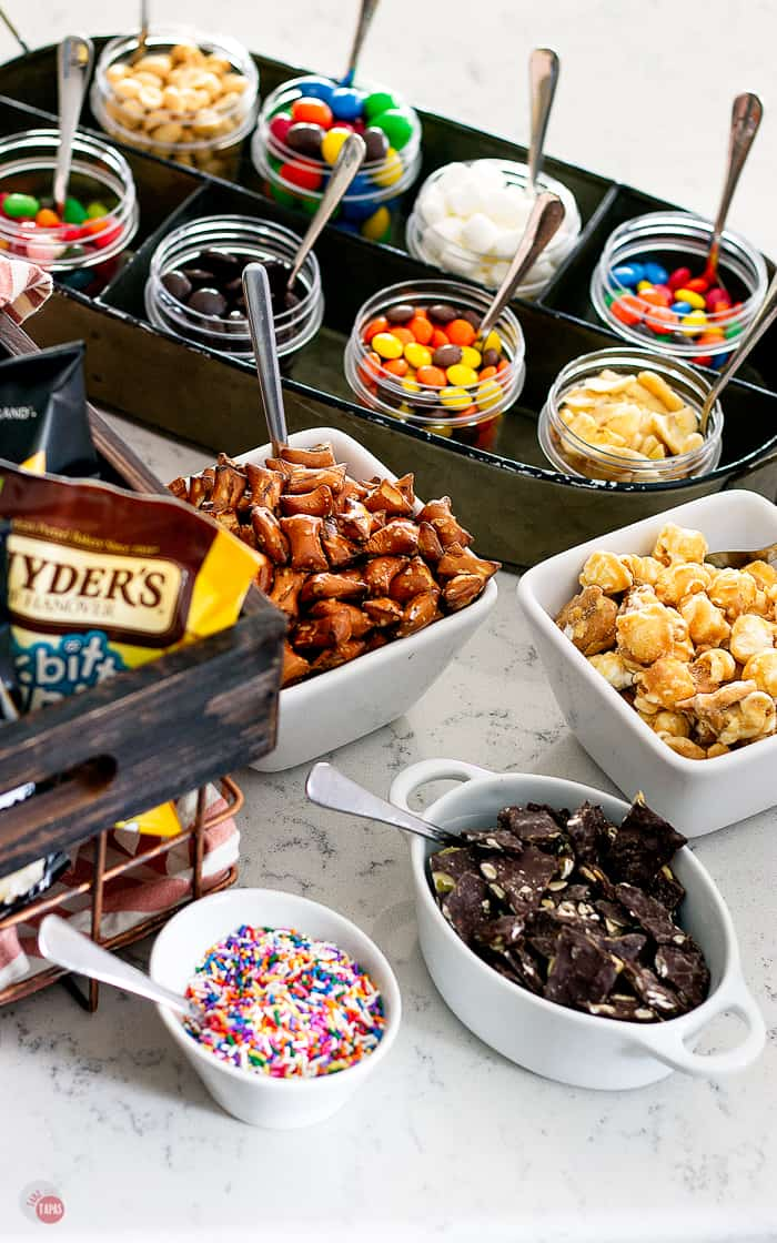 overhead picture toppings for walking dessert tacos