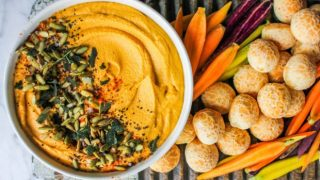 Roasted Butternut Hummus with Crispy Fried Sage