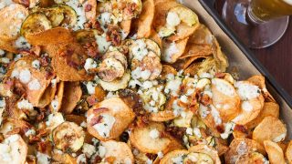 Potato and Zucchini Chips with Bacon, Gorgonzola, and Thyme