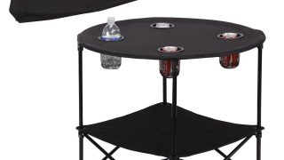 Folding Table with 4 Mesh Cup Holders