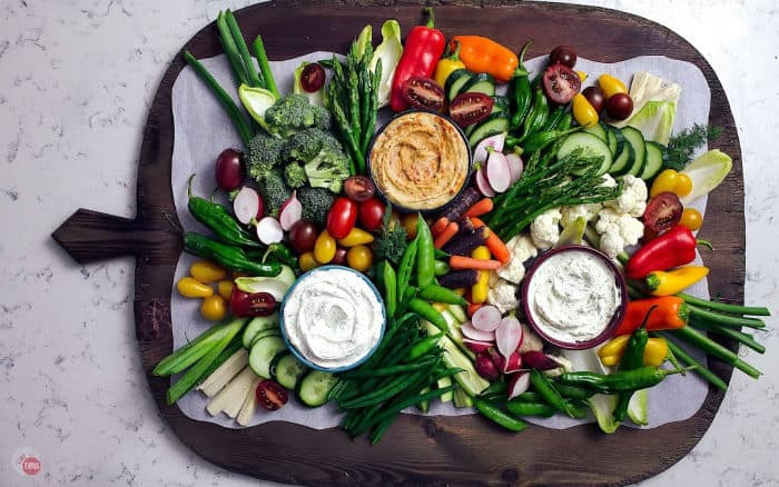 overhead view of crudite tray