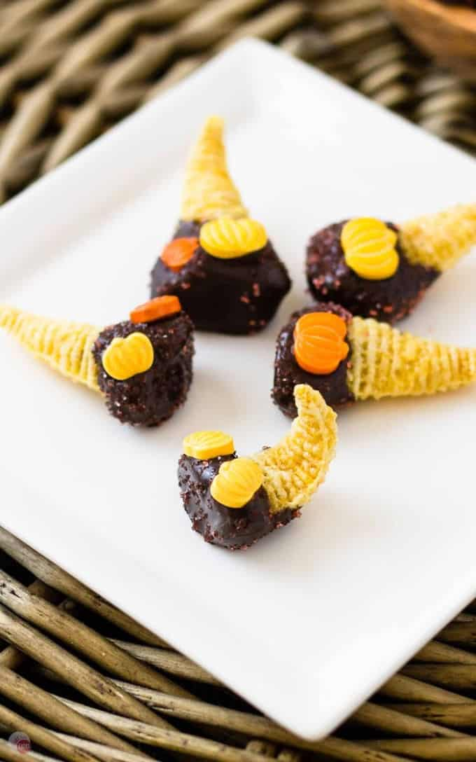 closeup of bugles with chocolate on a white plate