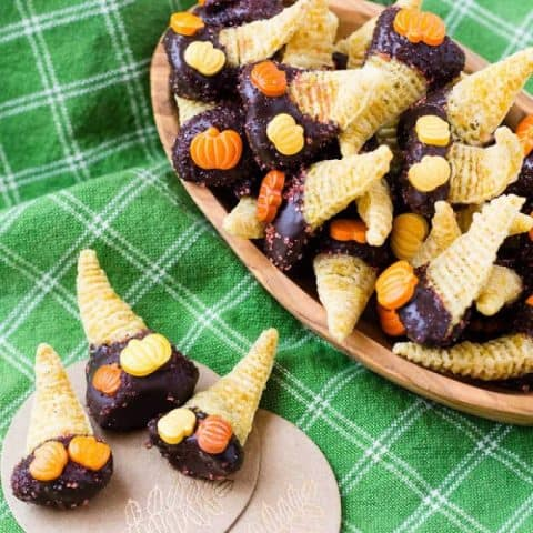 Chocolate Dipped Dulce de Leche Bugles - Mini Cornucopias