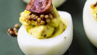 Smoky Honey Mustard Deviled Eggs with Pickled Mustard Seeds