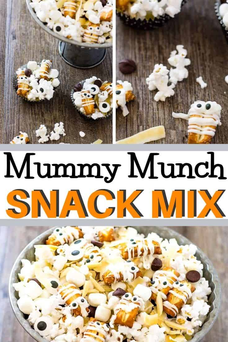 "Pinterest collage image with text ""mummy munch snack mix"""