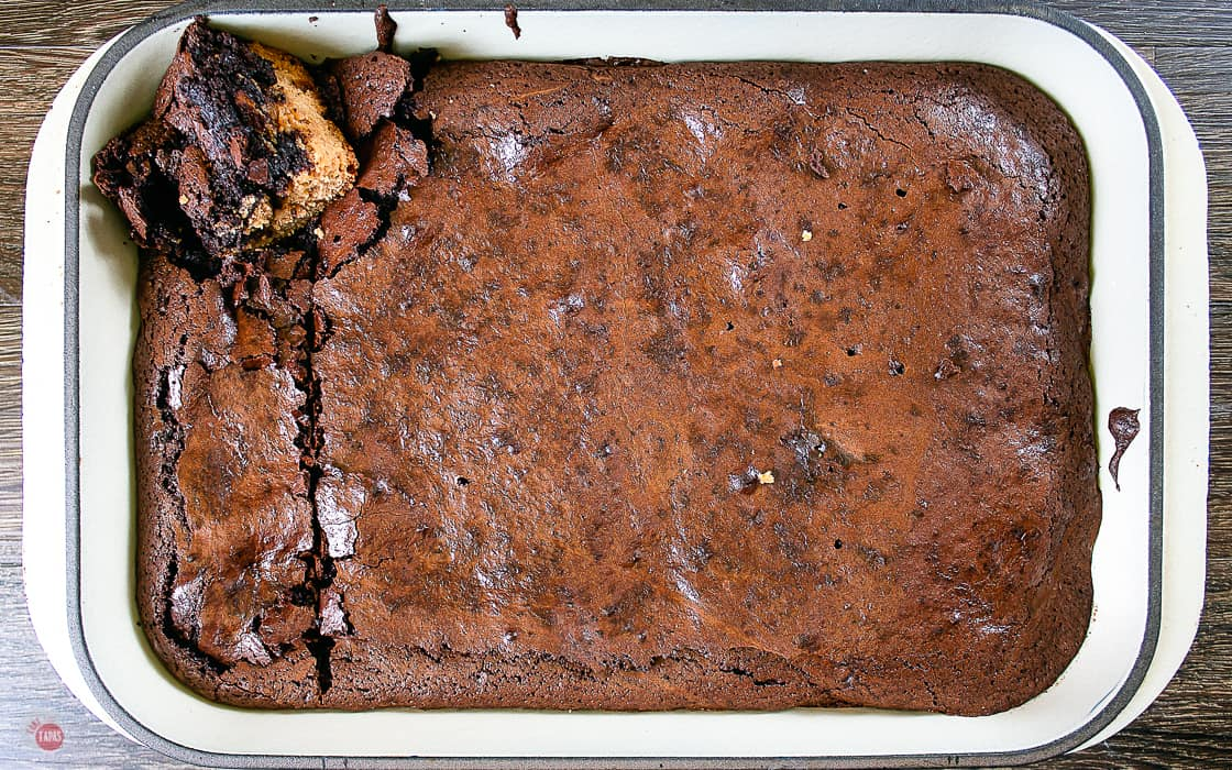 overhead view of pan of baked peanut butter oreo brownies