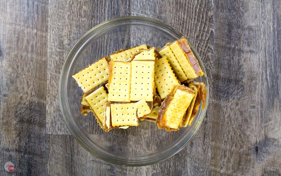bowl of cracker toffee candy