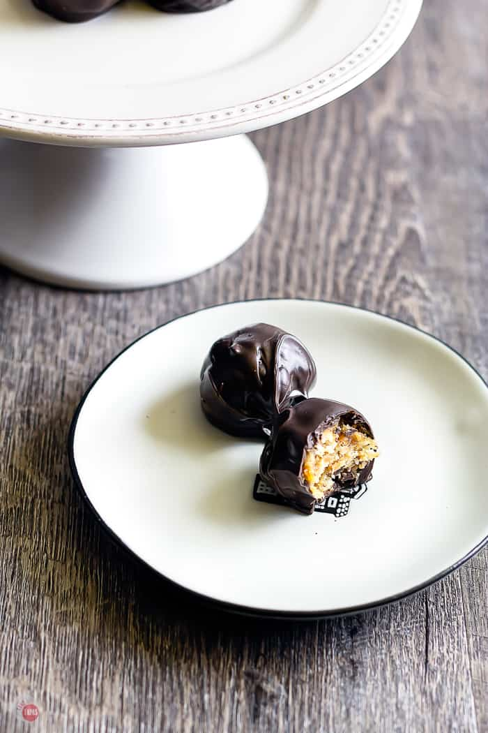 cracker toffee truffles on a white plate