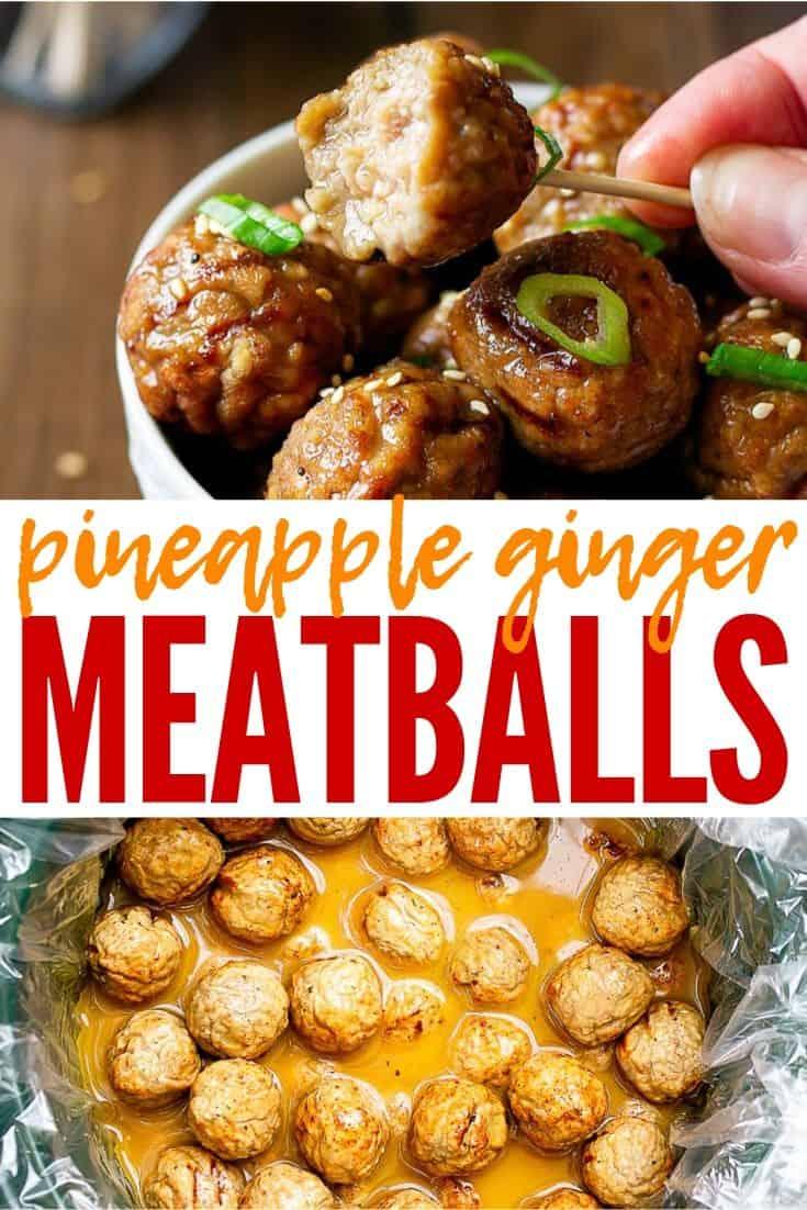 pinterest image of pineapple ginger meatballs