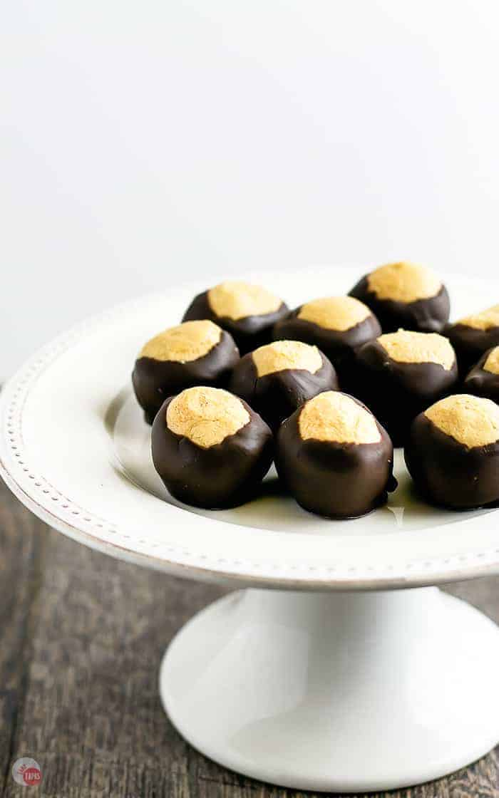 white platter with peanut butter buckeyes on top