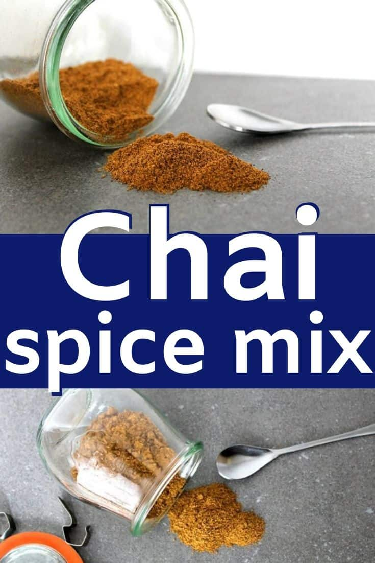 "Pinterest image with text ""chai spice mix"""