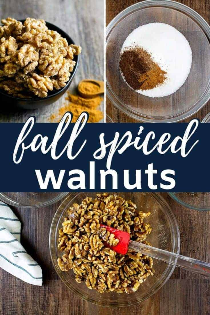 pinterest image of fall spiced walnuts