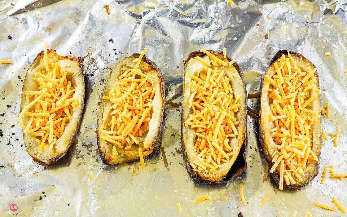 uncooked potatoes filled with cheese