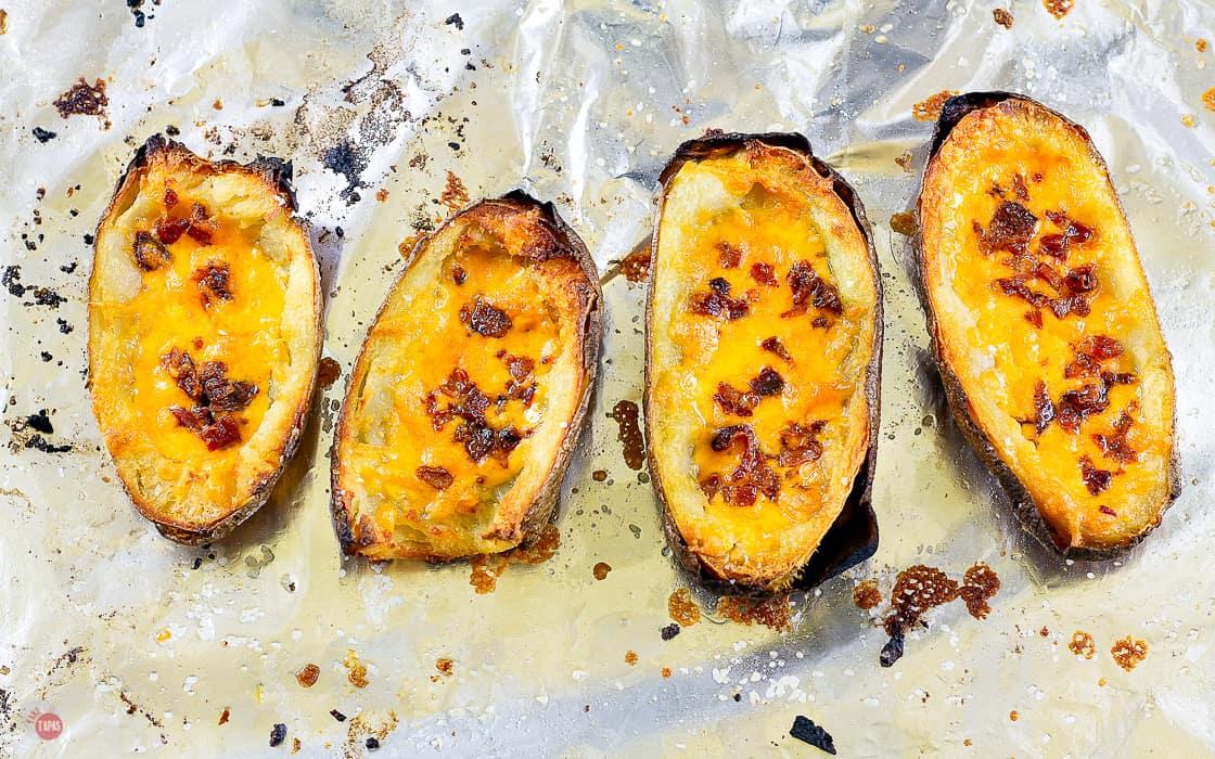 baked potato skins on foil