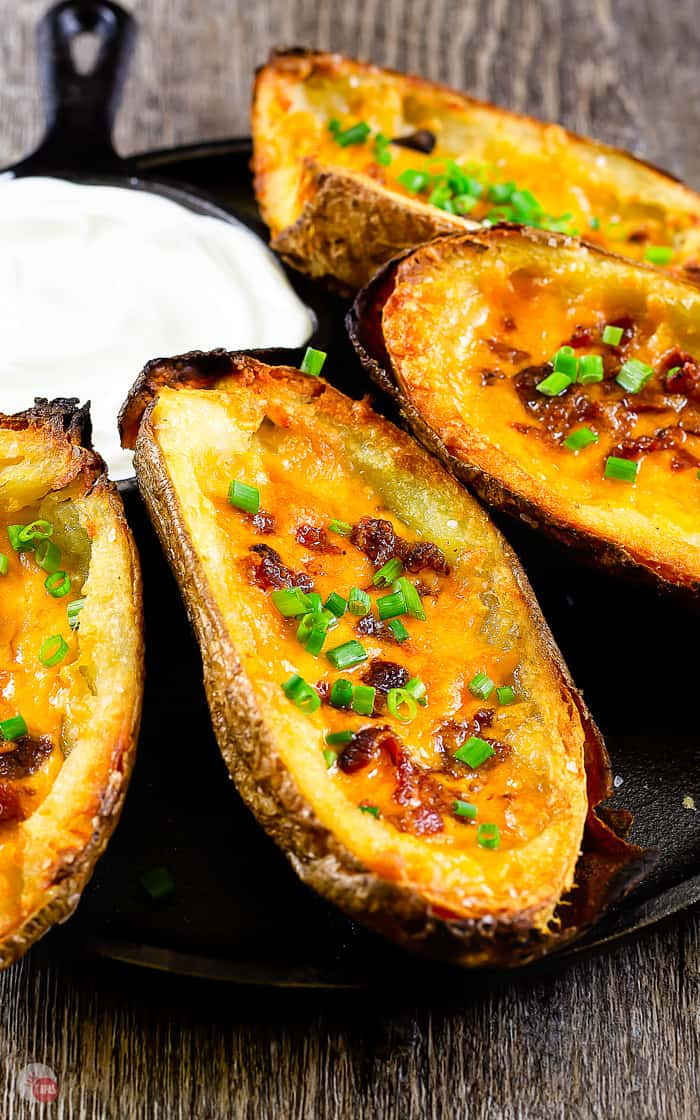 side view of potato skins on a cast iron plate