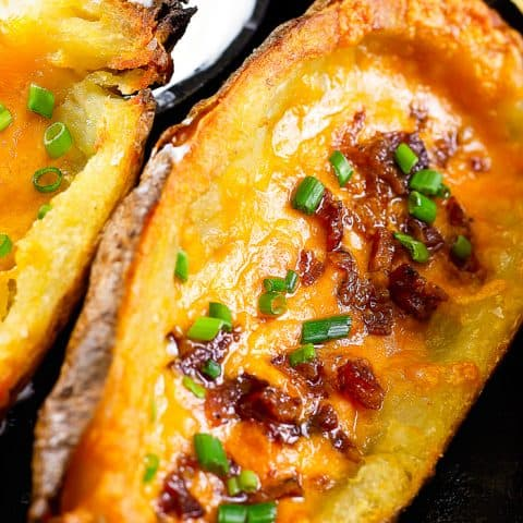close up of a loaded potato skin