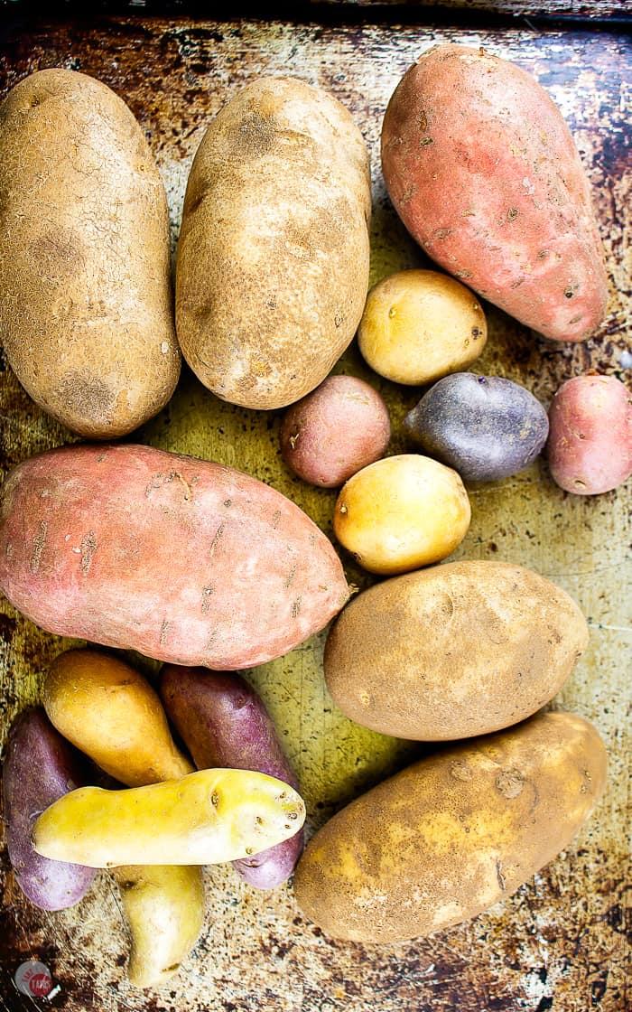 baking sheet of raw potatoes